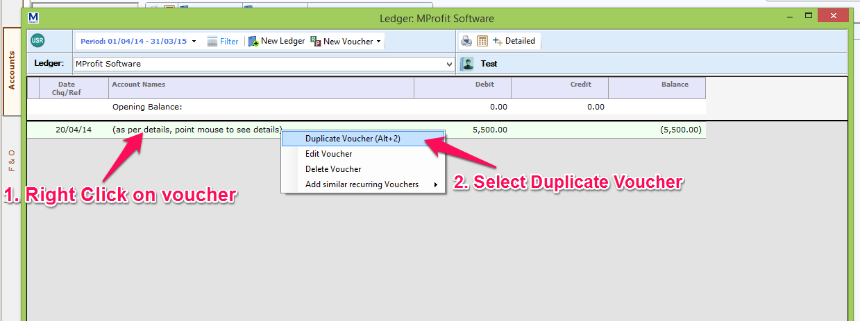 How to create duplicate and Recurring vouchers in Accounts – Create a Voucher